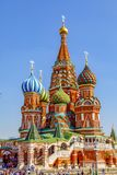 St Basil`s Cathedral and Moscow Kremlin stock images