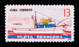 Lambda ship, Fishing ships serie, circa 1965 Stock Images