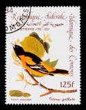 Baltimore Oriole Icterus galbula, Audubon Bicentenary serie, circa 1985 Royalty Free Stock Photos