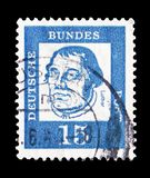 Martin Luther (1483-1546), reformer, Distinguished Germans serie, circa 1961. MOSCOW, RUSSIA - SEPTEMBER 15, 2018: A stamp printed in German Federal Republic ( royalty free stock photos