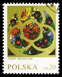 Angel, by Jozef Mehoffer, Stained Glass Windows serie, circa 1971. MOSCOW, RUSSIA - SEPTEMBER 15, 2018: A stamp printed in Poland shows Angel, by Jozef Mehoffer royalty free stock photo