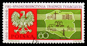 Eagle and map of Poland, Millenium Of Poland serie, circa 1966. MOSCOW, RUSSIA - SEPTEMBER 15, 2018: A stamp printed in Poland shows Eagle and map of Poland stock photo