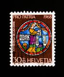 Zodiac: scales, Pro Patria serie, circa 1968. MOSCOW, RUSSIA - SEPTEMBER 3, 2017: A stamp printed in Switzerland shows Zodiac: scales, Pro Patria serie, circa royalty free stock photo