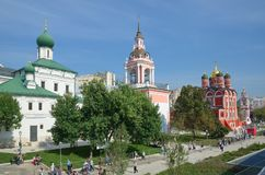 The Churches on the Varvarka street in Moscow, Russia royalty free stock photos