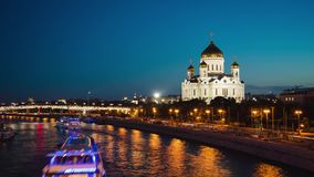 Moscow, RUSSIA - SEPTEMBER 30, Timelapse of Moscow river embankment and Cathedral of Christ the Saviour, Moscow, Russia stock video