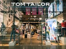 Tom Tailor clothing shop interior in the Columbus mall. Moscow, Russia - September 9, 2017: Tom Tailor clothing shop interior in the Columbus mall Royalty Free Stock Photography
