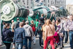Festivities in honor of the birthday of the 870th anniversary of. Moscow, RUSSIA - September 10, 2017: tourists and citizens walking on the street Tverskaya Royalty Free Stock Images