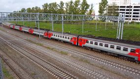 Moscow, Russia - September 24.2016. The train arrives at station Kryukovo in Zelenograd. Moscow, Russia - September 24.2016. The train arrives at the station stock video footage