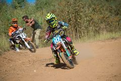 Children`s sector racing. MOSCOW, RUSSIA - SEPTEMBER 15, 2018: Unrecognized young athletes,in the Velyaminovo Race Weekend 2018, Motopark Velyaminovo, Istrinsky stock photo