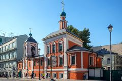 Church of St. Nicholas in Klennikah, street Maroseyka in Moscow stock images