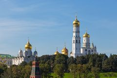 Vie of the towers Ivan the Great Bell-Tower and Assumption Cathedral.Moscow, Russia. stock image