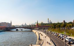 Moscow, Russia - September 23. 2017. View of Moskvoretskaya embankment and the Kremlin Stock Photos