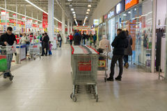 MOSCOW, RUSSIA - 13.07.2015. Shoppers in supermarket Auchan at Zelenograd Stock Photo