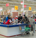 MOSCOW, RUSSIA - 13.07.2015. Shoppers in supermarket Auchan at Zelenograd Royalty Free Stock Images