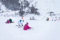 MOSCOW, RUSSIA: Ski club Leonid Tyagachev Stock Images