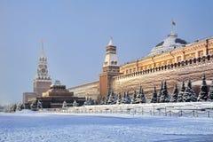 Kremlin Walls Covered Snow in Morning Twilight stock photos