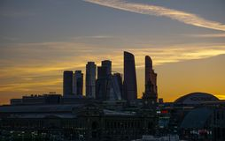 Moscow, Russia, skyscrapers on yellow sky royalty free stock image