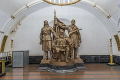 Moscow, Russia - Soviet era statue in between the metro stations royalty free stock images