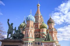 Moscow,Russia, St. Basil& x27;s Cathedral and Kremlin Walls and Tower stock photo