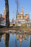Moscow,Russia, St. Basil& x27;s Cathedral and water reflection and Kr royalty free stock photos