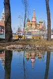 Moscow,Russia, St. Basil& x27;s Cathedral and water reflection and Kr stock images