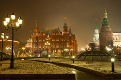 Moscow, Russia. State Historical Museum And Moscow Kremlin On Ma. Nege Square With Light Lamps In Evening Time Winter Stock Photos