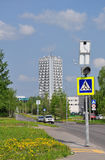 MOSCOW, RUSSIA - 05.28.2015. Street Designer Guskov, view of the administration building factory Micron in Zelenograd Royalty Free Stock Photo