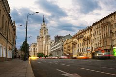 Sunset over famous landmarks - Red Gates Administrative Building - Stalin skyscraper of Seven Sisters in Moscow Stock Image