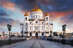 Moscow, Russia - Sunset view of Cathedral of Christ the Savior stock images