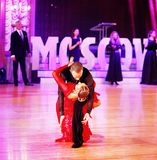 Moscow, Russia, the 3th of december 2017 , dancing of men and wo Royalty Free Stock Photo
