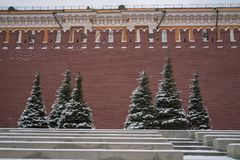 View of Kremlin and Lenin Mausoleum in winter stock images