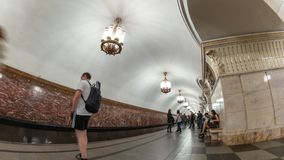 Moscow Russia time lapse. Moscow subway metro timelapse at Prospect Mira Station, Moscow Russia 4K Time lapse stock video footage