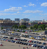 MOSCOW, RUSSIA - 26.06.2015. Top view on   Sadovoye Koltso - one of most important and major roads in  city. Royalty Free Stock Photography