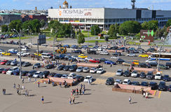 MOSCOW, RUSSIA - 26.06.2015. Top view on   Sadovoye Koltso - one of most important and major roads in  city. Stock Photo