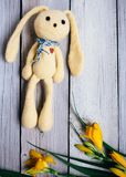 Moscow, Russia - 06 05 2018: toy hare with a bouquet of lilies on a wooden background, a gift for a baby stock images