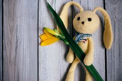 Moscow, Russia - 06 05 2018: toy hare with a bouquet of lilies on a wooden background, a gift for a baby stock image