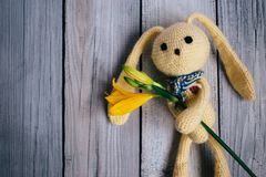 Moscow, Russia - 06 05 2018: toy hare with a bouquet of lilies on a wooden background, a gift for a baby royalty free stock photography