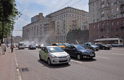 MOSCOW, RUSSIA - 15.06.2015. Traffic on the Garden Ring. Sadovoe koltso -circular main street in central Moscow. Stock Images