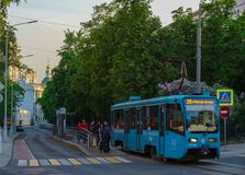 Moscow/Russia - Tram leaving the station of Chistie Prudi stock photography