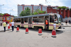 MOSCOW, RUSSIA - 15.06.2015. The tram rides on rails. Every day go on a city 1,000 trams Royalty Free Stock Image