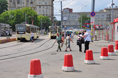 MOSCOW, RUSSIA - 15.06.2015. The tram rides on rails. Every day go on a city 1,000 trams Stock Photo