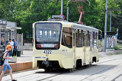 MOSCOW, RUSSIA - 15.06.2015. The tram rides on rails. Every day go on a city 1,000 trams Stock Photos