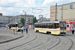 MOSCOW, RUSSIA - 15.06.2015. The tram rides on rails. Every day go on a city 1,000 trams Stock Image