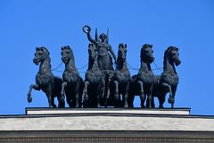 Moscow, Russia, May, 08, 2018. Triumphal arch on Kutuzovsky Prospekt in Moscow. Architecture details royalty free stock photography