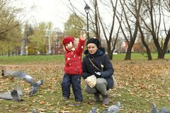 11/02/2017, Moscow, Russia, Tsaritsino Park, a boy and a woman f Royalty Free Stock Photos