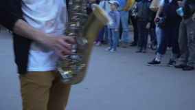 Moscow, Russia ,The twenty seventh of May, two thousand seventeenth year;street musicians in the city Park stock video