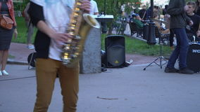 Moscow, Russia ,The twenty seventh of May, two thousand seventeenth year;street musicians in the city Park stock video footage