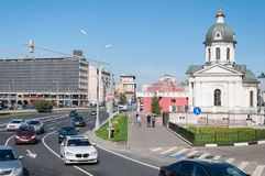 Moscow, Russia - 09.21.2015. View of Arbat Square, chapel of Boris and Gleb, and Arbatskaya Metro. Moscow, Russia - 09.21.2015. View of the Arbat Square Prague Royalty Free Stock Photo