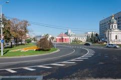Moscow, Russia - 09.21.2015. View of Arbat Square, chapel of Boris and Gleb, and Arbatskaya Metro. Moscow, Russia - 09.21.2015. View of the Arbat Square Prague Stock Photo