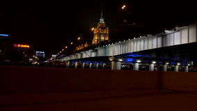 Moscow, Russia - View from car to the Radisson Royal Hotel at night. stock footage